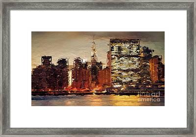 New York City Skyline Abstract 2 Framed Print