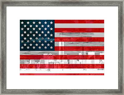 New York City Skyline And American Flag Framed Print