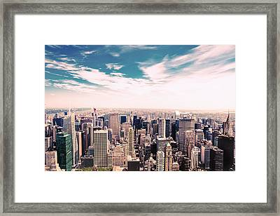 New York City - Skyline And Central Park Framed Print