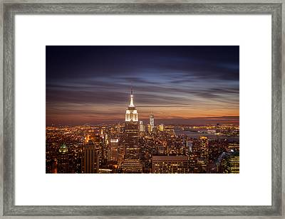 New York City Skyline And Empire State Building At Dusk Framed Print by Vivienne Gucwa