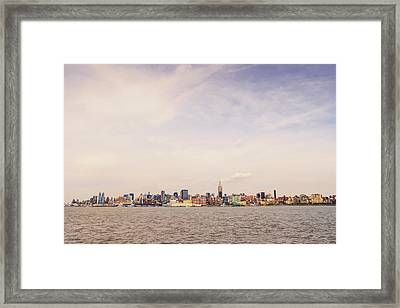 New York City Skyline And The Hudson River Framed Print by Vivienne Gucwa