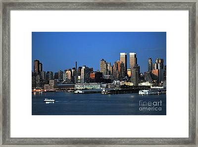 New York City Skyline At Dusk Framed Print