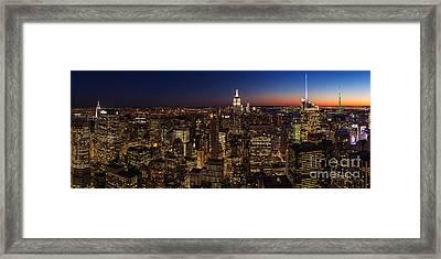 New York City Skyline At Dusk Framed Print by Mike Reid