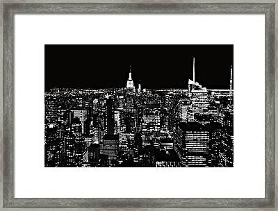 New York City Skyline At Night Framed Print