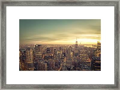 New York City - Skyline At Sunset Framed Print