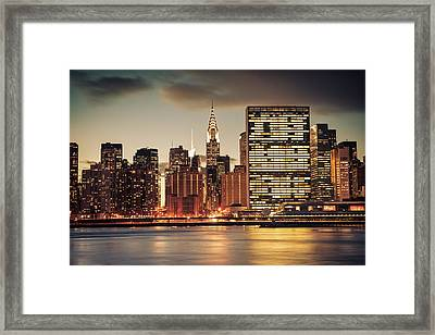 New York City Skyline - Evening View Framed Print by Vivienne Gucwa