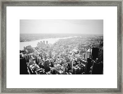 New York City Skyline - Foggy Day Framed Print by Vivienne Gucwa