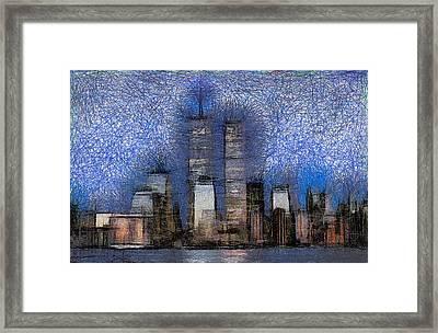 New York City Blue And White Skyline Framed Print by Georgi Dimitrov
