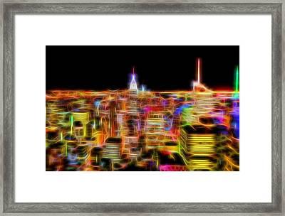 New York City Skyline Glowing Lights Framed Print