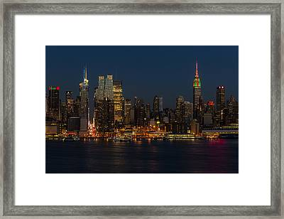 New York City Skyline In Christmas Colors Framed Print by Susan Candelario