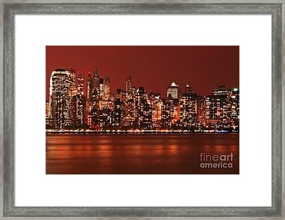 New York City Skyline In Red Framed Print