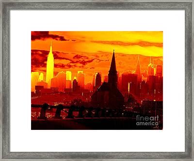 New York City Skyline Inferno Framed Print by Ed Weidman