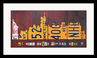 New York City Skyline Mixed Media Framed Prints