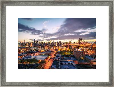 New York City Skyline - Lights At Dusk Framed Print by Vivienne Gucwa