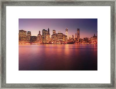 New York City Skyline - Night Lights Framed Print by Vivienne Gucwa