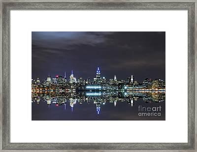 New York City Skyline Night Usa Framed Print