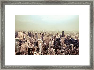 New York City - Skyline On A Hazy Evening Framed Print by Vivienne Gucwa