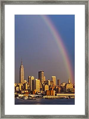New York City Skyline Rainbow Framed Print by Susan Candelario