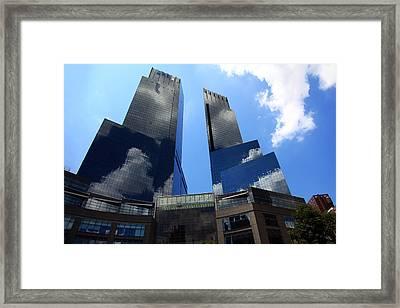 New York City Skyline Reflecting Clouds Framed Print