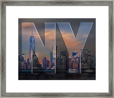 Framed Print featuring the photograph New York City Skyline by Steve Zimic