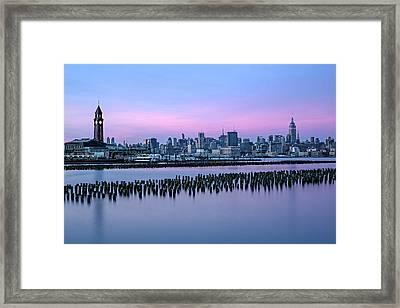 New York City Skyline Stillness Framed Print by Susan Candelario