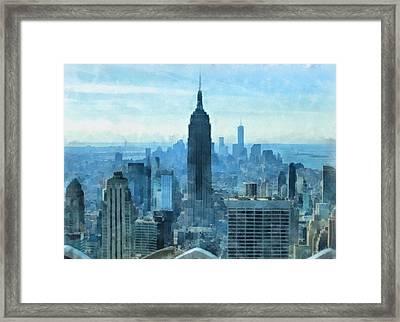 New York City Skyline Summer Day Framed Print
