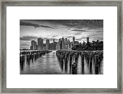 New York City Skyline Sunset Hues Bw Framed Print by Susan Candelario