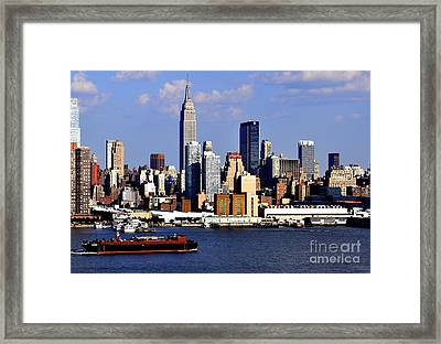 New York City Skyline With Empire State And Red Boat Framed Print by Kathy Flood