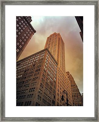 New York City - Skyscraper And Storm Clouds Framed Print