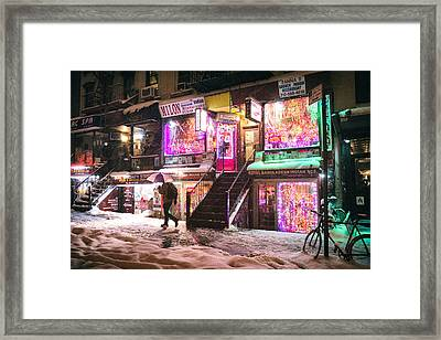 New York City - Snow And Colorful Lights At Night Framed Print