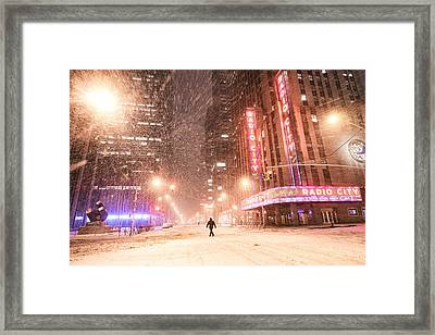 New York City - Snow And Empty Streets - Radio City Music Hall Framed Print