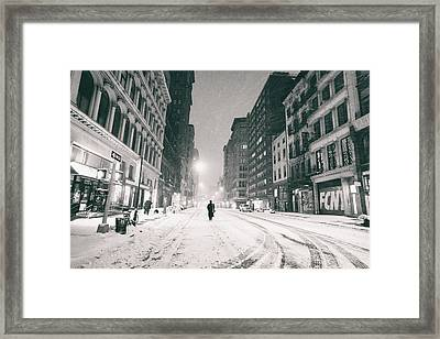 New York City - Snow - Empty Streets At Night Framed Print by Vivienne Gucwa