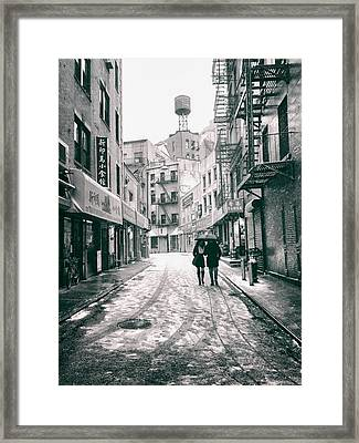 New York City - Snow On A Winter Afternoon - Chinatown Framed Print