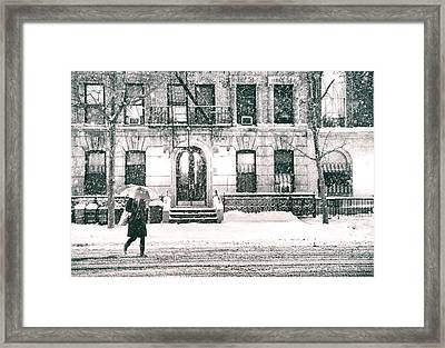 New York City - Snowy Night In Midtown Framed Print by Vivienne Gucwa