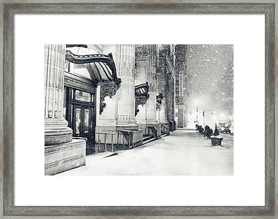 New York City - Snowy Winter Night Framed Print
