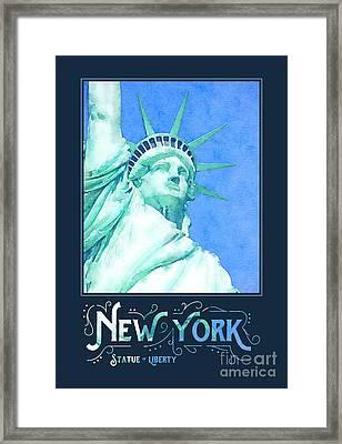 New York City Statue Of Liberty Digital Watercolor 1 Framed Print