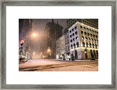 New York City Streets On A Snowy Night  Framed Print by Vivienne Gucwa