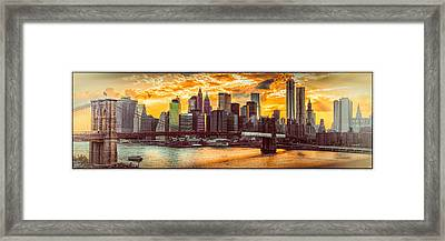 New York City Summer Panorama Framed Print