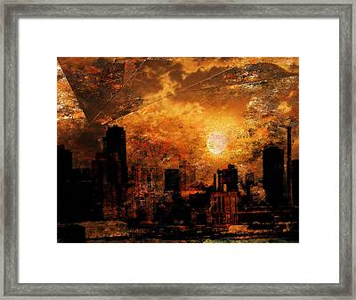 Framed Print featuring the digital art New York City Sunrise by Bruce Rolff