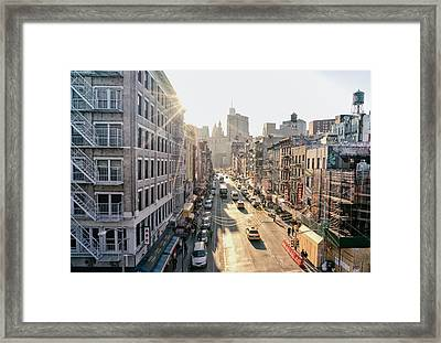 New York City - Sunset Above Chinatown Framed Print