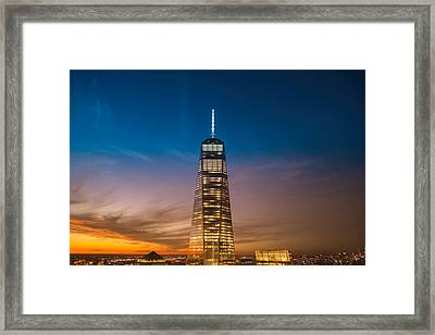 New York City - Sunset And One World Trade Center Framed Print by Vivienne Gucwa