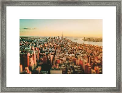 New York City - Sunset Over Manhattan's Skyline Framed Print by Vivienne Gucwa