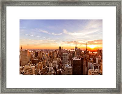 New York City - Sunset Skyline Framed Print