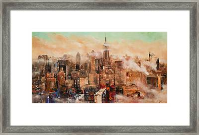 New York City Through The Clouds Framed Print by Manit