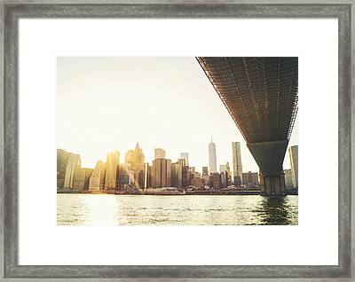 New York City - Under The Brooklyn Bridge - Skyline Sunset  Framed Print by Vivienne Gucwa