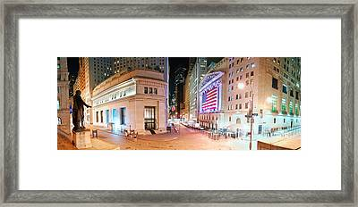 New York City Wall Street Panorama Framed Print