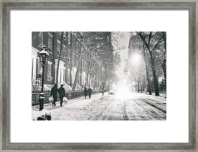New York City - Winter Night In The Snow At Washington Square  Framed Print by Vivienne Gucwa