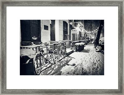 New York City - Winter Night In The Snow - East Village Framed Print by Vivienne Gucwa