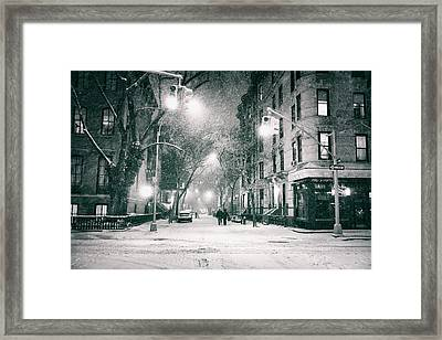 New York City - Winter Night In The West Village Framed Print by Vivienne Gucwa