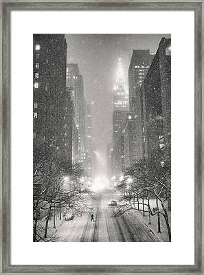 New York City - Winter Night Overlooking The Chrysler Building Framed Print
